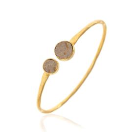 LABRADORITE 2-STONE BANGLE GOLD VERMEIL