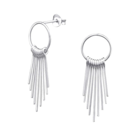 SPIKED HOOPS STERLING SILVER STUDS