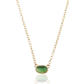 OVAL GREEN ONYX GOLD VERMEIL NECKLACE