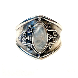 MOONSTONE MARQUISE BOHO RING STERLING SILVER