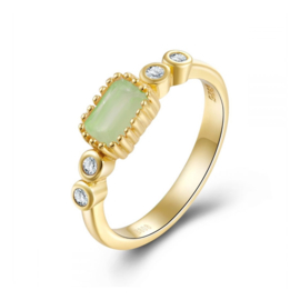 CHALCEDOON 4-STONE RING GOLD VERMEIL