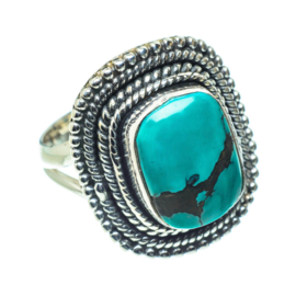 BIG SQUARE TURQUOISE RING STERLING SILVER 16.75