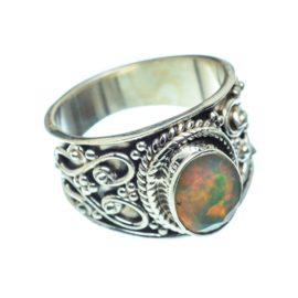 OPAAL OVAL BOHO RING STERLING ZILVER 17