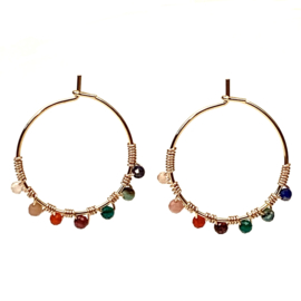 BEADED MULTISTONE HOOPS GOLD PLATED