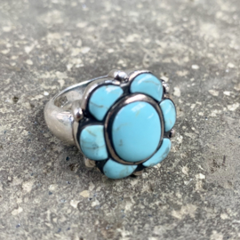TURQUOISE FLOWER RING STERLING ZILVER 17