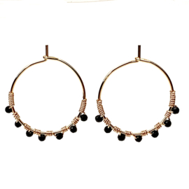 BEADED ONYX HOOPS GOLD PLATED
