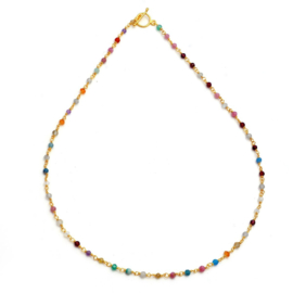MULTISTONE BEADS GOLD VERMEIL NECKLACE