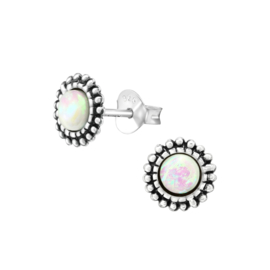 DOTTED OPAL STUDS STERLING SILVER