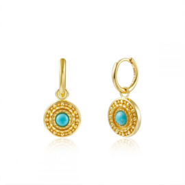 TURKOOIS COIN GOLD VERMEIL EARRINGS