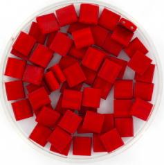 MIYUKI TILA'S, 5 X 5 MM KRALEN, METALLIC MATTE BRICK RED 2040