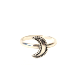 DOTTED MOON RING STERLING ZILVER