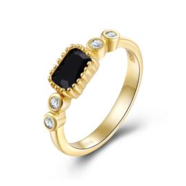 BLACK ONYX  4-STONE RING GOLD VERMEIL