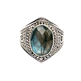 FACETED LABRADORITE RING STERLING SILVER