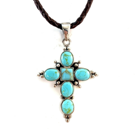 TURQUOISE CROSS NECKLACE STERLING SILVER