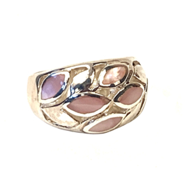 MOTHER OF PEARL FLOWER RING STERLING SILVER