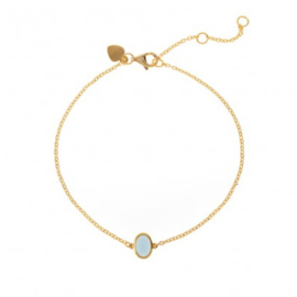 OVAL BLUE GLASS BRACELET GOLD VERMEIL