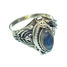 LABRADORITE POISON RING STERLING SILVER 18.5