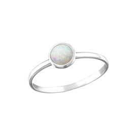 ROUND FIRE SNOW RING STERLING SILVER
