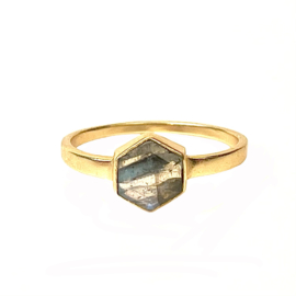 HEXAGON LABRADORITE RING GOLD VERMEIL / MUJA JUMA