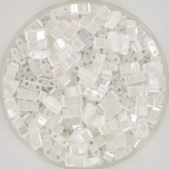 MIYUKI TILA'S, HALF 5 X 2.3  MM KRALEN, CEYLON WHITE PEARL 420