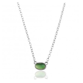 OVAL GREEN ONYX NECKLACE STERLING SILVER