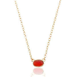 OVAL RUBY GOLD VERMEIL NECKLACE