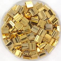 MIYUKI TILA'S, 5 X 5 MM KRALEN, 24K PLATED GOLD 191