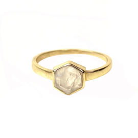 HEXAGON MOONSTONE RING GOLD VERMEIL / MUJA JUMA
