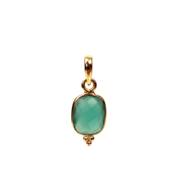 GREEN ONYX SMALL DOTS GOLD VERMEIL PENDANT
