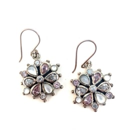 CRYSTAL FLOWER OORBELLEN STERLING ZILVER