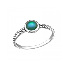 BRAIDED MOOD RING STERLING SILVER