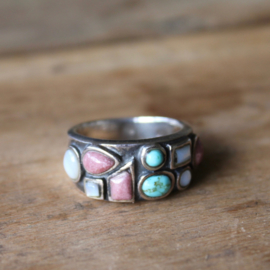 PASTEL 9-STONE RING STERLING ZILVER