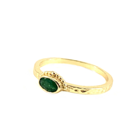 GROENE JADE OVAL CROWN RING GOLD VERMEIL / MUJA JUMA