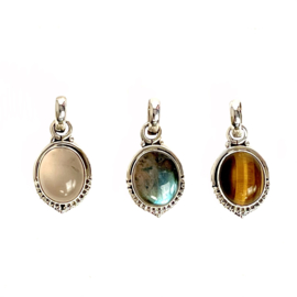 OVAL GEMSTONE PENDANT STERLING SILVER