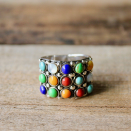 MULTI COLOR 3X5 RING STERLING ZILVER