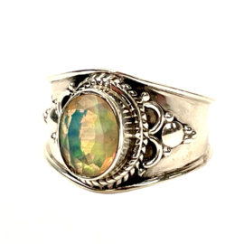 OPAAL OVAL BOHO RING STERLING ZILVER 18