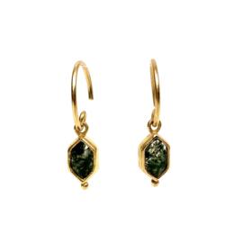 DIAMOND DOT MOSS AGATE GOLD VERMEIL EARRINGS / MUJA JUMA