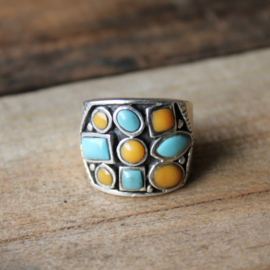 TURQUOISE MIXED RING STERLING ZILVER