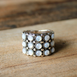 MOTHER OF PEARL 3X5 RING STERLING ZILVER