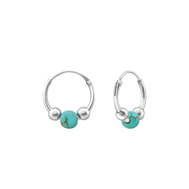TURQUOISE BEAD HOOPS STERLING SILVER