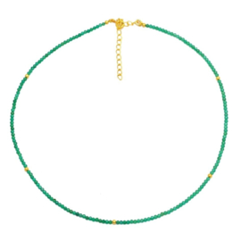 GREEN ONYX BEADED GOLD VERMEIL NECKLACE