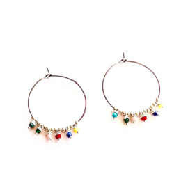 BEADED HOOPS MULTI COLOR