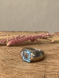 VINTAGE BLUE RING STERLING ZILVER