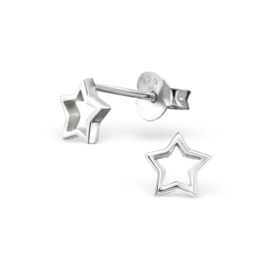 OPEN STAR OORSTEKERS STERLING ZILVER