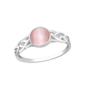 PINK CAT EYE RING STERLING ZILVER