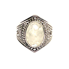 FACETED MOONSTONE RING STERLING SILVER
