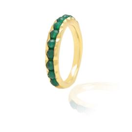 GREEN ONYX BEADED RING GOLD VERMEIL 16.5