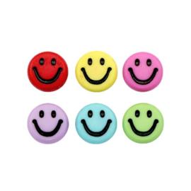 MULTICOLOR ACRYL SMILEY KRALEN (6 PCS)