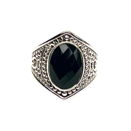 FACETED BLACK ONYX RING STERLING SILVER