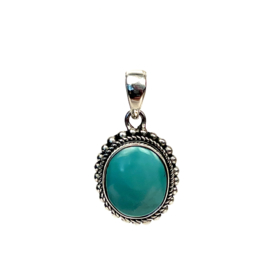 OVAL TURQUOISE PENDANT STERLING SILVER